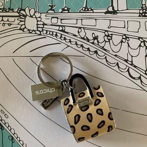 NWT Chico's Shopping Bag Key Chain Fob